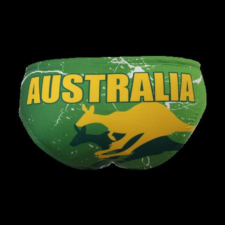 Suit Waterswim Australia Kangaroo Green Swimwear, Swim Briefs for swimmers, Water Polo, Underwater hockey, Underwater rugby
